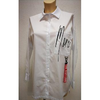 Блуза для беременных Victoria  белая с карабином 0426
